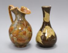 A Doulton Lambeth 'sycamore leaf' bottle vase, c.1885, marks for Eleanor Tosen and AS and a Royal