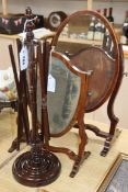Two 19th century skeleton frame toilet mirrors and a wool winder Largest mirror H.48cm