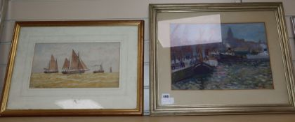 Swedish School- watercolour, Shipping in harbour, 28 x 41 and a watercolour signed Walters