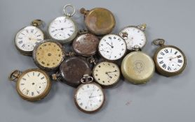 A quantity of assorted base metal pocket watches.