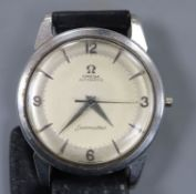 A gentleman's stainless steel Omega Seamaster automatic wrist watch (lacking winding crown), on