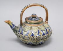 A Doulton Lambeth compressed globular teapot and cover, by Louisa E Edwards, dated 1877, assistant's