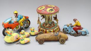 Five tinplate toys