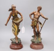A pair of Art Nouveau painted spelter figures H.37cm