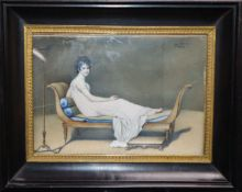 Cagnet after David, oil on ivory, Miniature portrait of a lady reclining upon a settee, signed 11