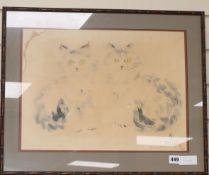 Asian School, watercolour and ink, Study of two cats, indistinctly signed and dated 1937 33 x 45cm