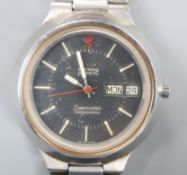 A gentleman's 1970's? stainless steel Omega Seamaster Electronic F300Hz Chronometer wrist watch,