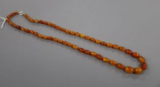 A single strand amber bead necklace, gross 27 grams, 64cm.