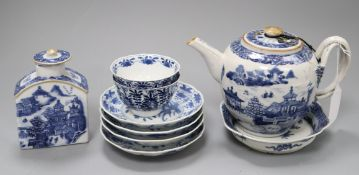 A Chinese Export blue and white teapot, caddy etc Teapot H.15cm
