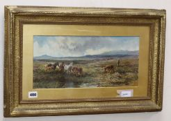William Henry Pike (1846-1908), Dartmoor ponies, signed and dated 1880, oil on board 19 x 39cm