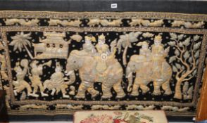 An Indian figural velvet and sequin applique panel