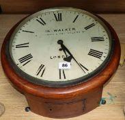 A 19th century mahogany drop dial single fusee wall clock, Jno Walker, London