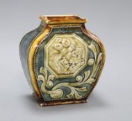 A Doulton Lambeth Aesthetic period rectangular baluster vase, c.1885, relief moulded with a Shi-shi,