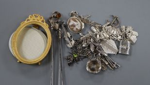 Mixed bijouterie, including two Charles Horner hatpins, paste dragonfly brooch, white metal lockets,