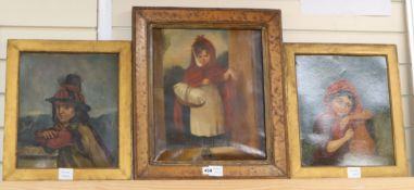 Victorian School - three naive oils, Studies of children largest 40 x 33cm