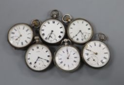 Six assorted silver or white metal pocket watches including Cyma.