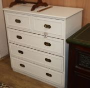 A military style white painted chest W.92cm