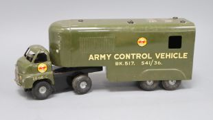 A Minic tinplate army control vehicle L.75cm