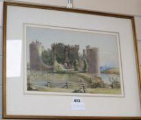Ewell, watercolour, Bodiam Castle, Kent 23 x 34cm