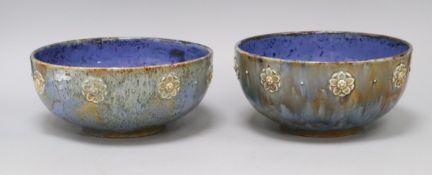 A pair of Royal Doulton blue mottled ground bowls, shape 4737, assistant's mark EB