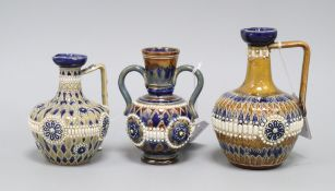 Two Doulton Lambeth incised and 'jewelled' jugs and a similar 2-handled vase, c.1885-1910, 12cm -