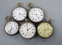 Five assorted silver pocket watches.