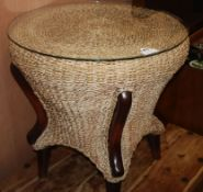 A rattan circular occasional table Diameter 60cm