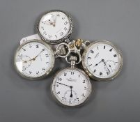Three assorted silver and one sterling pocket watches, including two Vertex, one Everite and a Blair