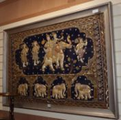 An Indian figural on velvet, sequin applique panel
