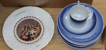 Five Spode hand-painted 'Game Birds' plates (boxed) and a collection of Christmas and other