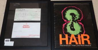 A framed cheque from Vivienne Westwood and a collage advertising the musical 'Hair'