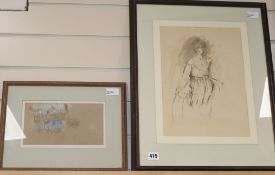 Edna Clarke Hall (1879-1979), 'Self-Study', pen, wash and ink, Abbott & Holder label verso and a