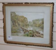 Thomas Henry Hunn (1857-1928), watercolour, 'Stepping Stones', signed and dated 1917, 27 x 38cm