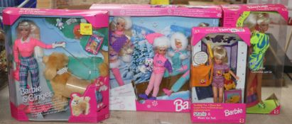 Barbie and Ginger walking dog - Winter Holiday four dolls, Movin-Groovin, Flashlight Fun Stacie