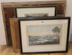 Six late 18th century topographical engravings after Farington, a 'View of Oxford' after Turner