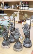 A pair of figural table lamps and two others tallest 37cm