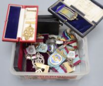 A group of assorted masonic jewels etc. including silver and silver gilt.