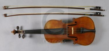 A violin by Julius Heinrich Zimmermann, early 20th century, the two piece back with medium curl with