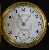 A George V 18ct. gold keyless half hunter pocket watch, with Arabic dial and subsidiary seconds,