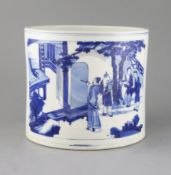A good large Chinese blue and white brush pot, bitong, Kangxi period, c.1700-15, finely painted with