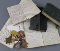 """The WWI War diaries of Sapper H J Matthews, 23669, Royal Engineers, who died, reported """"killed in"""