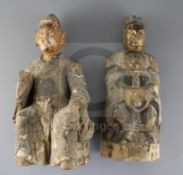 Two Chinese polychrome and gilt lacquered wood figures of immortals, 17th - 18th century, the