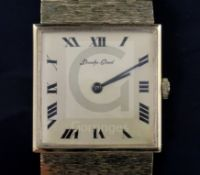 A gentleman's 1970 9ct gold Bueche Girod manual wind dress wrist watch, with square Roman dial, case