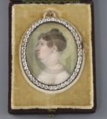 English School c.1800oil on ivoryMiniature portrait of Charlotte Ross, daughter of Sir James