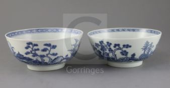 A pair of Chinese Nanking cargo blue and white bowls, Qianlong period, each painted to the