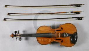 A French violin, labelled Louis Joseph Germain Luthier, A Paris Annee 1867, with medium curl to