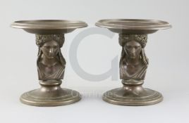 A pair of 19th century French F. Barbedienne bronze tazzae, with classical Greek head stems, W.6.