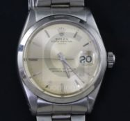 A gentleman's 1960's stainless steel Rolex Oyster Perpetual Date wrist watch, with baton numerals,