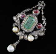 A Georgian gold and silver, emerald, cabochon ruby, rose cut diamond and pearl set drop pendant