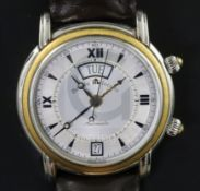 A gentleman's early 2000 steel and 18ct gold Maurice Lacroix automatic day/date alarm wrist watch,